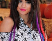"Get SELENA""S RAINBOW HAIR 100% Remy Human Hair Seamless Skin Tape In 1 inch wide 26 inches long Extension Blue Red Purple"