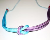 Rope Knot Necklace Nautical pastel lavender and blue