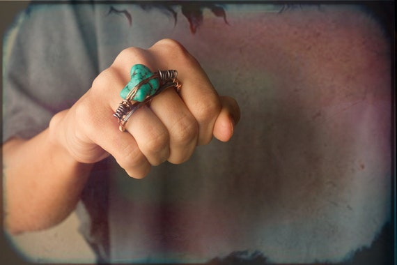 Turquoise Nugget Double Finger Ring