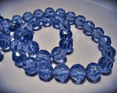 Glass  Beads Faceted Blue 10mm