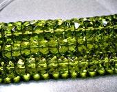 Crystal  Beads Czech Firepolished  Olivine  Rondelle 8x5MM