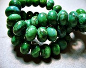 Web Jasper Beads Gemstone Green Rondelle 12x8mm