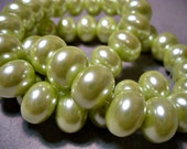 Glass Pearls Spring Green Rondelle 12x8MM