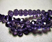 Crystal Beads Faceted Purple  Rondelles 6x4mm