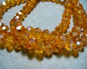 Crystal Beads Faceted Orange AB   Rondelles 6x4mm
