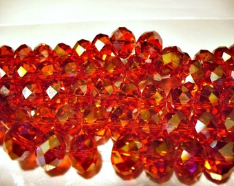 Crystal Beads Red Faceted Rondelles12x8MM
