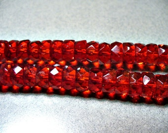 Crystal Beads Czech Firepolished  Siam Red  Rondelle  8x5MM