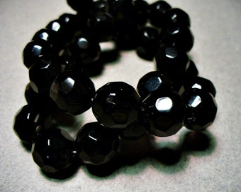 Crystal Beads Faceted Black 12mm