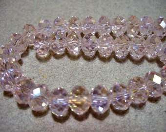 Crystal Beads Pink AB Faceted  Rondelles 8x5MM