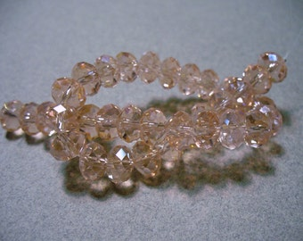 Crystal Beads Peach AB Faceted Rondelles 8x5MM