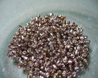 Seed Beads Mauve with Silver Lining  4mm 28 grams