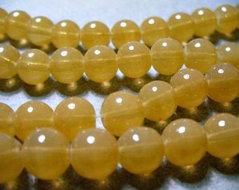 Jade Glass Beads Golden  Round 8MM
