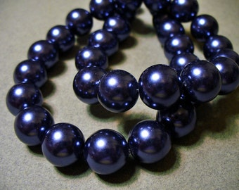Glass Pearls Navy Blue 8mm