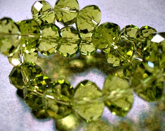 Crystal Beads Olive Green Rondelle 12x8MM