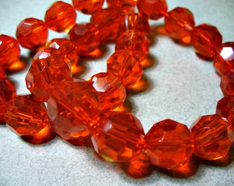 Crystal Beads Faceted Red Round 12MM