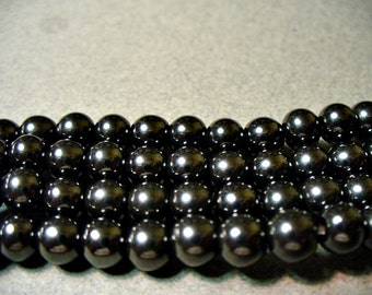 Hematite Beads Gemstone Silvery Black Round 4mm