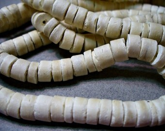 Coco Beads Wood Rustic White Heishi 6-7mm