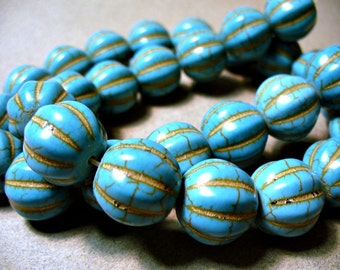 Turquoise Beads Howlite Blue Melon Round 14MM