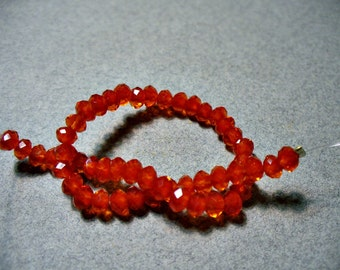 Crystal Beads Red Orange Faceted  Rondelles 4x3MM