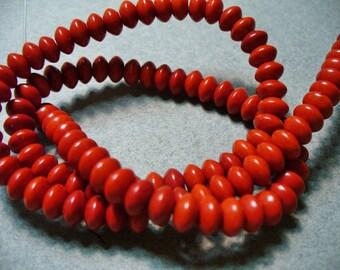Magnesite Beads Gemstone Red Rondelle 6x4MM