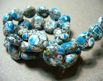 Mosaic Beads Gemstone Blue Gray Black Coin 12MM