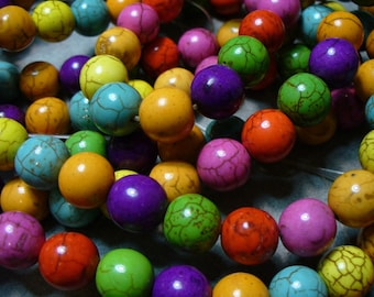 Magnesite Beads Gemstone Mixed Colors  Round 10mm