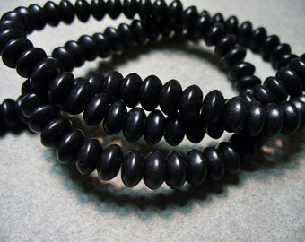 Magnesite Beads Gemstone Black Rondelle 6x4MM