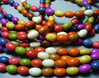 Magnesite Beads Gemstone Mixed Colors Rice 8x5MM