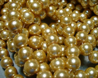 Glass Pearls Golden  8MM