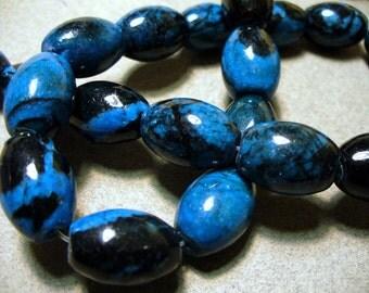 Jasper Beads Gemstone Blue Barrel Banded 17x11MM