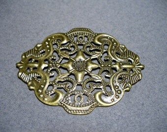 Antique Brass Filigree Connector 44x34MM