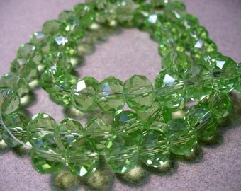 Crystal Beads Faceted Green Rondelles 8x5MM