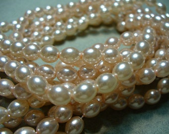 Glass PearlsLight Pink Rice 7x5mm