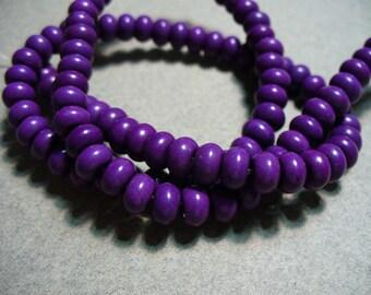 Magnesite Beads Gemstone Purple Rondelle 6mm