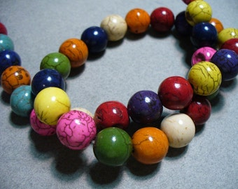 Magnesite Beads Gemstone Mixed Colors Round 12MM