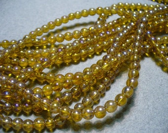 Glass Beads Light Amber AB Round 4mm