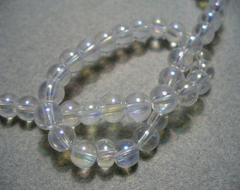 Glass Beads Round Clear AB 6MM