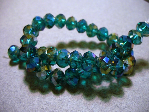 Crystal Beads Teal AB Faceted Rondelles 8x5MM
