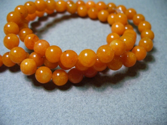 Jade Beads Gemstone Pumpkin Round 6mm