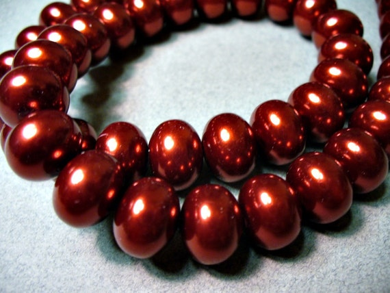 12 - 12x8MM Red Wine Rondelle Glass Pearls