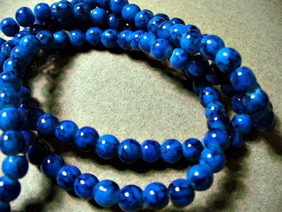 36 - 6MM Blue Jade Glass Round Beads