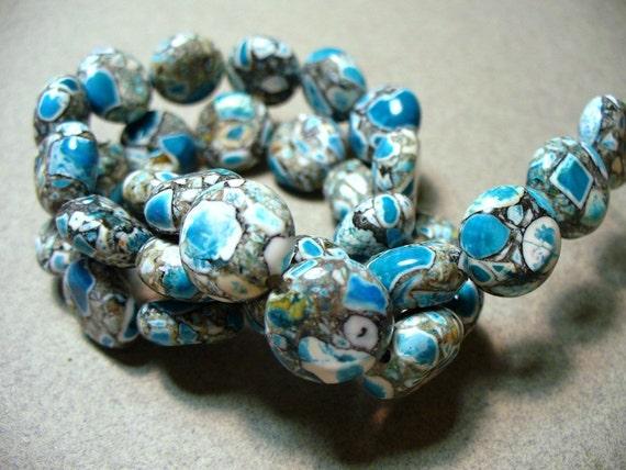 Mosaic Beads Gemstone Blue Gray Black Coin 12MM
