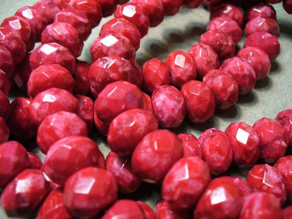 Jasper Beads Faceted Red Rondelle 12x8mm