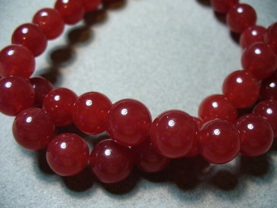 10 - 10MM Red Jade Round Beads