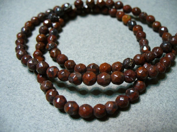 30 - 3mm Faceted Red Jasper Round Beads