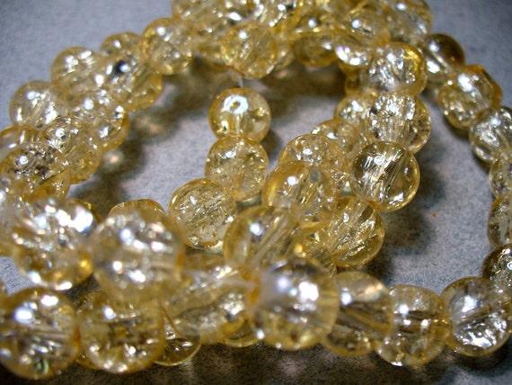 Crackle Glass Beads Golden 8MM