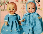 """PDF Knitting Pattern for Baby Doll Dress, Cloak and Bootees - 10-12-14"""" Dolls - Instant Download"""