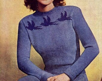 PDF Knitting Pattern for a Retro Fair Isle Jumper & Skirt With Blue Birds Yoke - Instant Download