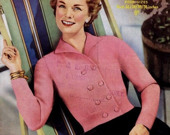 PDF Knitting Pattern - Ladies Retro Double Breasted Jacket 1950's Chic - Instant Download