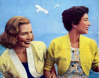 PDF Knitting pattern for Two 1950's Ladies Easy-To-Knit Boleros - Instant Download